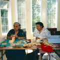 Agnes Mcgee and Catherine Blaney working on baskets at the Elder's Lodge in Sliammon.  Photo Courtesy of Rita Pimlott